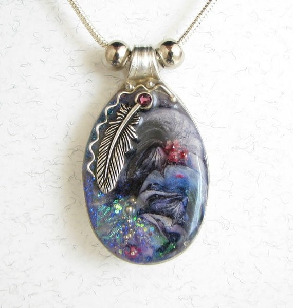 Vintage Spoon Necklace with 3D Abstract Art, Silver Indian Feather