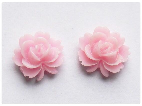 Vintage style Rose Studs Earrings - Misty Rose
