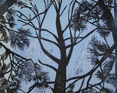 pine trees linocut with color