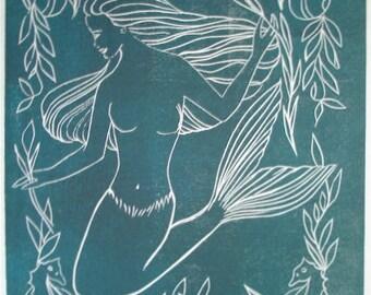 Mermaid green/black linocut limited ed