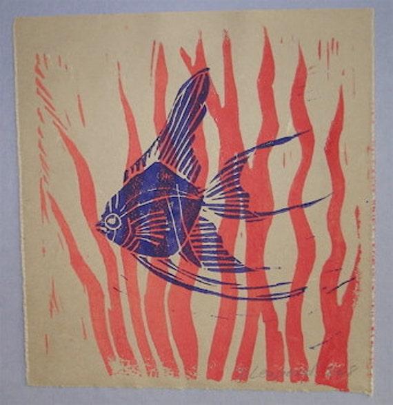 angel fish block print