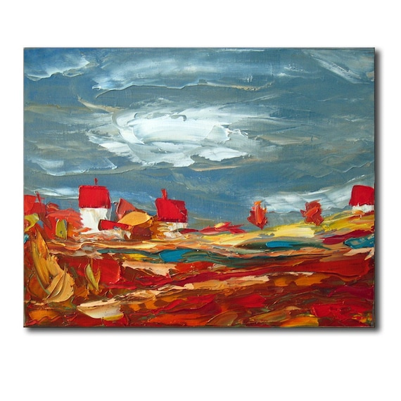 The Red Village - Original Oil Painting on Canvas Palette Knife - by SOLOMOON
