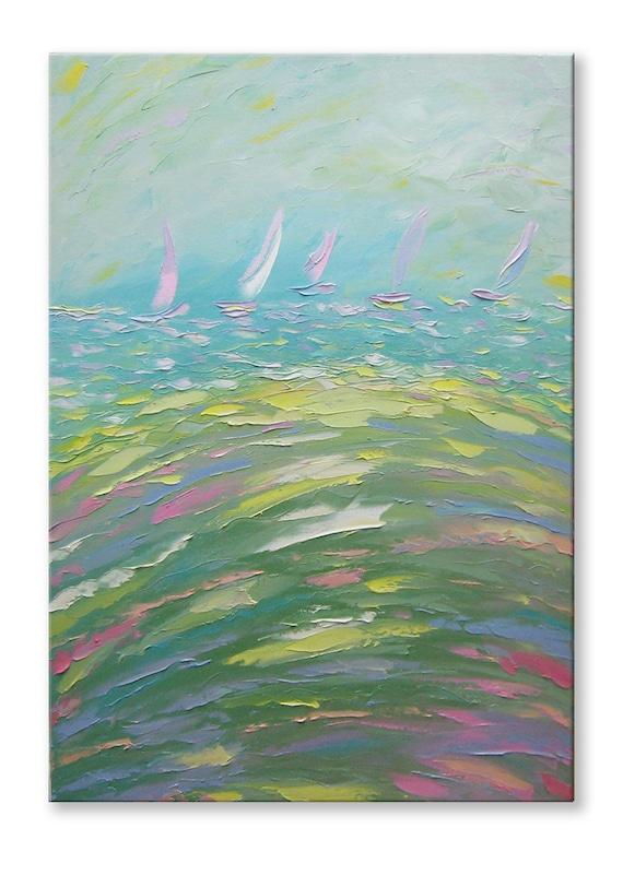 "Morning regatta - FREE SHIPPING - Large 39""x28"" Original Oil Painting - ready to hang palette knife impasto"