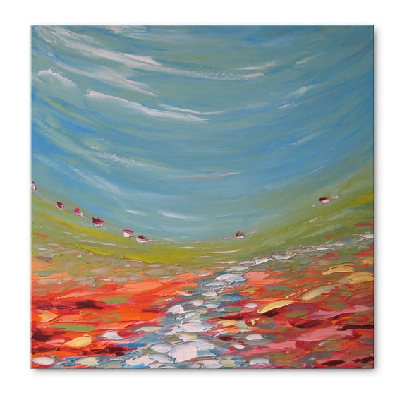 White river FREE SHIPPING Original Oil Painting on Canvas Palette Knife - by SOLOMOON - gallery fine art ready to hang impasto