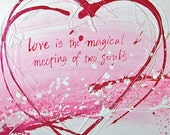 Pink Heart Print, Love quotation, calligraphy, words, Abstract Fine Art Print, cerise, pink & white, 8 x 8 inches