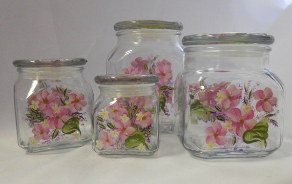 Hand Painted Canister Set - Spring Garden Pink
