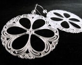 Crystal Wheel Earrings- Vintage Lucite and Quartz