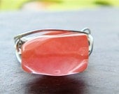Cherry Punch Ring Any Size- Cherry Quartz and Sterling Silver