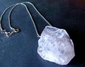 Rose Slice Necklace- Rose quartz and sterling silver