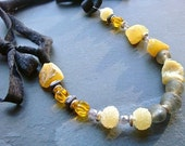 Lemon Rock Necklace- upcycled T-shirt, opal, glass, ceramic, sterling silver