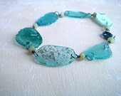 Diana Bracelet- Ancient Roman glass, jade, and oxidized sterling silver
