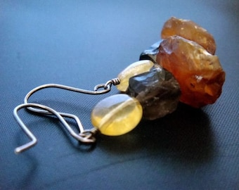 Harvest Moon Earrings- Citrine, Agate, Smoky Quartz