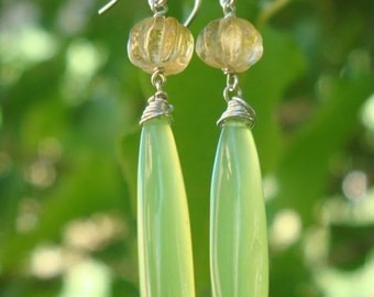 Lemon-Lime Citrine and Chalcedony Earrings