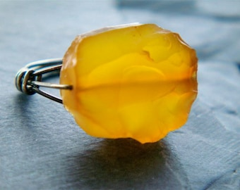 Square of Butter Ring Any Size- yellow chalcedony and sterling silver
