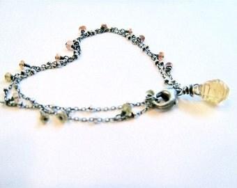 Tiny Citrine Double Bracelet- citrine and sterling silver