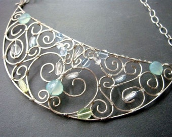 Goddess Necklace- Sterling SIlver, chalcedony, and Czech glass