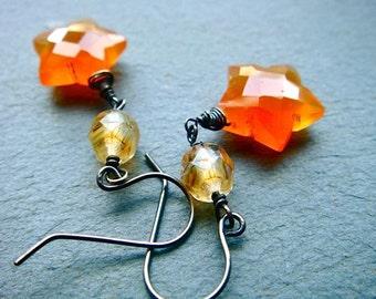 Carnelian Star Earrings No. 1- carnelian, Czech glass, oxidized sterling silver