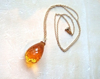 Golden Honey Drop Necklace- citrine and 14K gold
