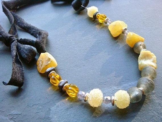 Lemon Rock Necklace- upcycled T-shirt, opal, glass, ceramic, sterling silver