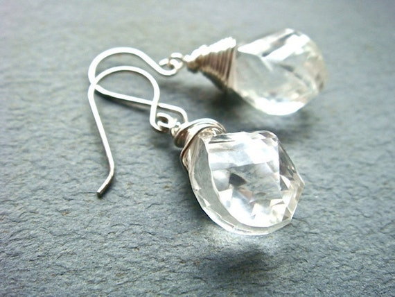 Crystal Twist Earrings No. 2- shiny sterling silver and crystal quartz