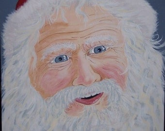 Santa's Smile- Holly King- Father Christmas Original Acrylic Painting 16X20