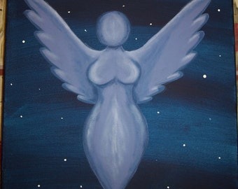 Goddess of the Night Sky- Acrylic painting on 12x12 inch stretched canvas wicca pagan