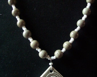 Sage Green And White Ceramic Spiral Bead Necklace