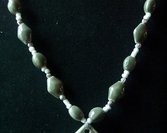 Sage Green And White Ceramic Spiral and Silver Metal Bead Necklace