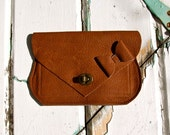 The Clara Pocket Purse Handmade Leather Clutch/Wallet Brown/Tan with Bow OOAK