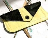 Sold to Kali The Jane2 Handbag Handmade STRIKING MODERN Yellow/Black Leather/Goat Hair Clutch OOAK