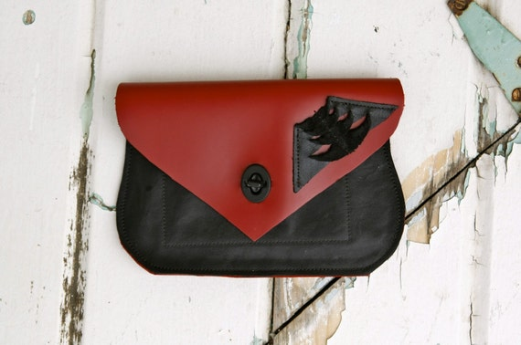 Handmade Red and Black Leather Clutch/Wallet OOAK The Jane Pocket Purse Collection