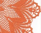Extra large orange crochet doily 25 inches