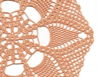 Large peach crochet doily