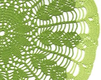Extra Large green wheat ear crochet doily