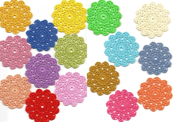 Blooming crochet flower doily - colourful doilies spring collection set of 16, motif, appliqué, Mandala, bag decoration, crochet medallions