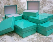 Teal Blue Boxes - 20-count (3.5 x 3.5 x 1 in.) Square Cotton Filled Boxes