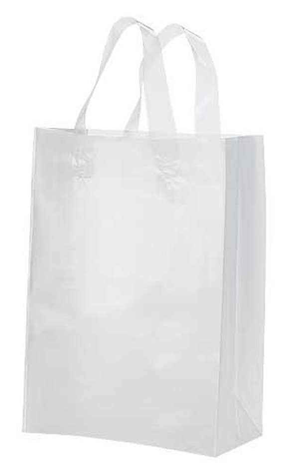 20 Pack Frosted Soft Loop Handle Bags 8 X 10 In By