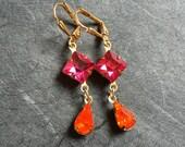 Orange blossom - pink and orange rhinestone earrings