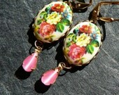 Pretty peonies - floral cabochons with pink moonstone drop earrings