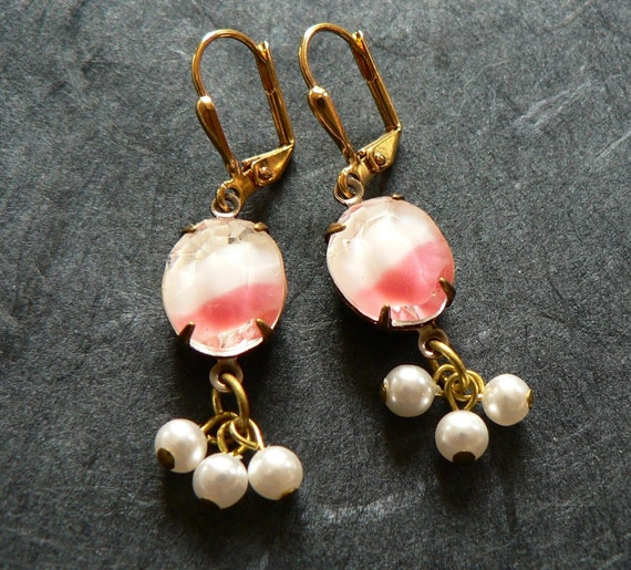 Pink lady - rose pink and white givre glass and pearl drop earrings