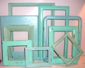 9 Beach Themed Picture Frames in Robin's Egg Blue, Sea Foam Green and Beach Glass