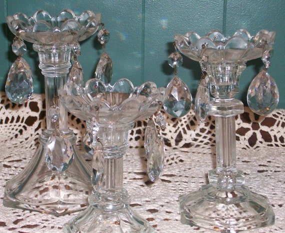 3 Cut Glass Bobeches with Glass Prisms