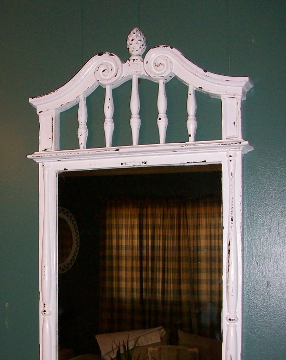 Large Chippy White Vintage Wall Mirror