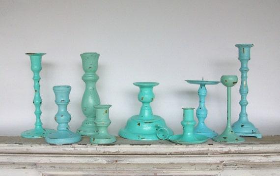 9 Beach Themed Candle Holders Robins Egg Blue Sea foam Green Beach Glass