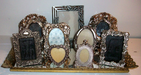 9 Small Shades of Silver Picture Frames
