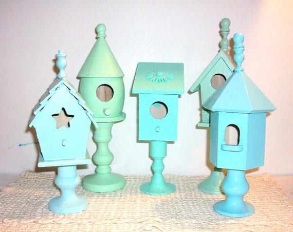 5 Beach Blues and Green Wood Bird Houses
