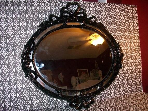 Ornate Black Oval Wall Mirror