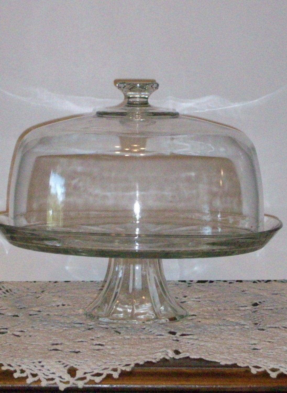 vintage glass pedestal cake stand with dome cover. Black Bedroom Furniture Sets. Home Design Ideas