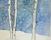 Snowy Aspens Original Watercolor and Ink Painting