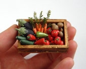 RESERVED for minteriors - Crate of Vegetables - Dollhouse Miniature one inch scale